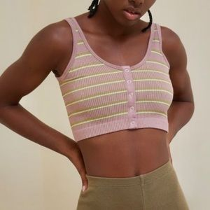 NWT UO Seamless Snap-Front Bra Top Pastel Striped